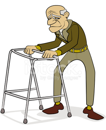 Old Man With Walking Frame Cartoon Stock Vector.