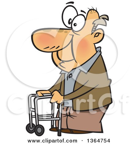Cartoon Clipart of a Black and White Happy Old Man Using a Walker.