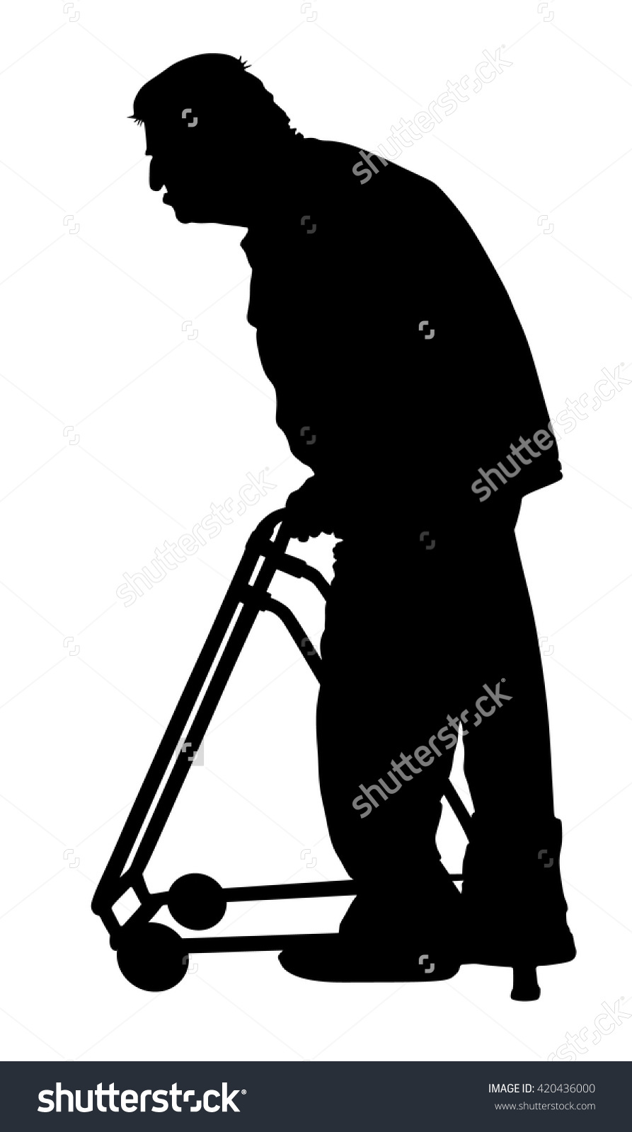 Old Disabled Person Walker Vector Silhouette Stock Vector.