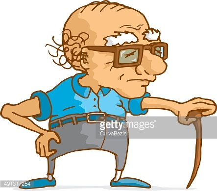 Old man leaning on wood cane Clipart Image.
