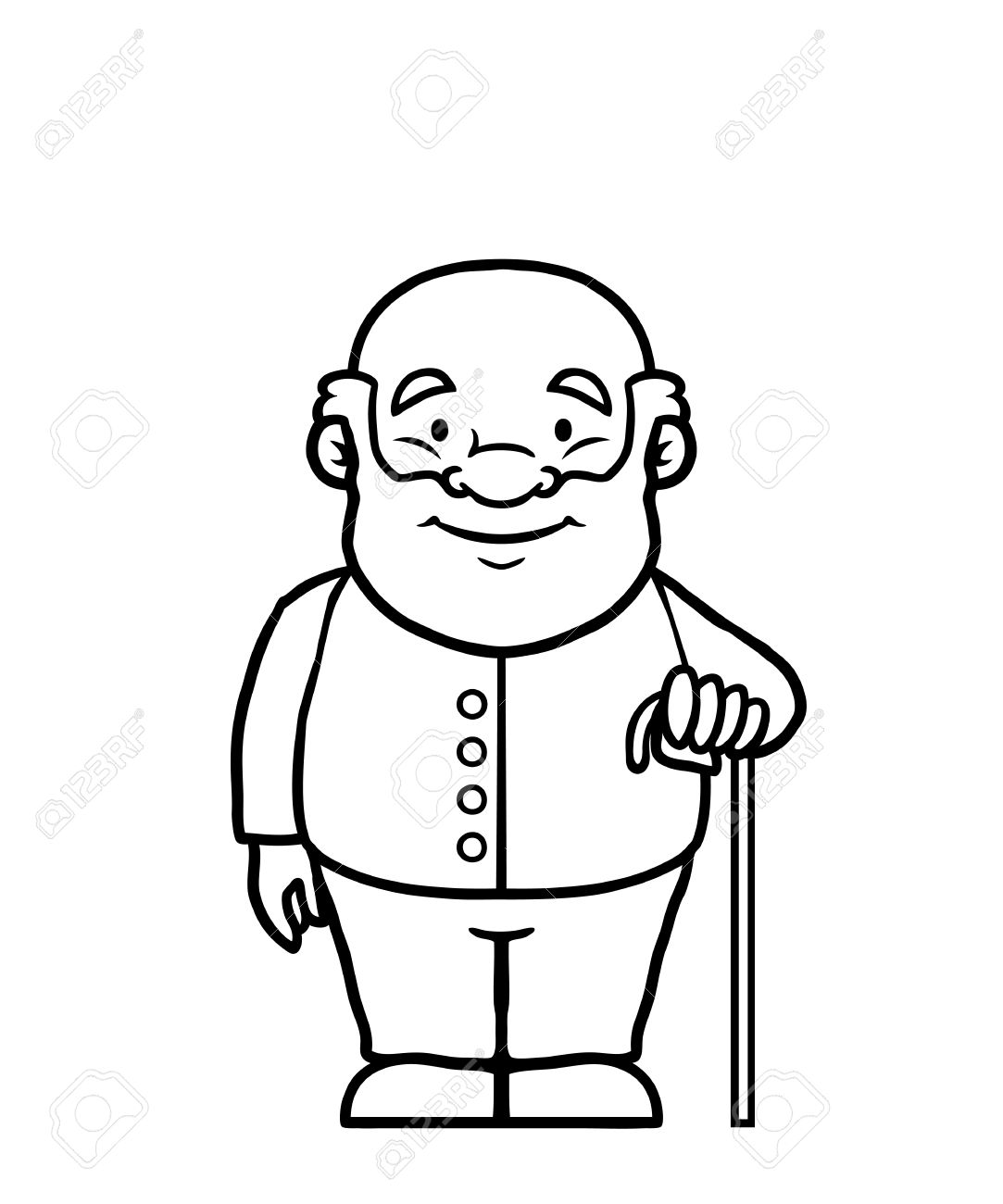 Black and white old man holding a cane » Clipart Station.