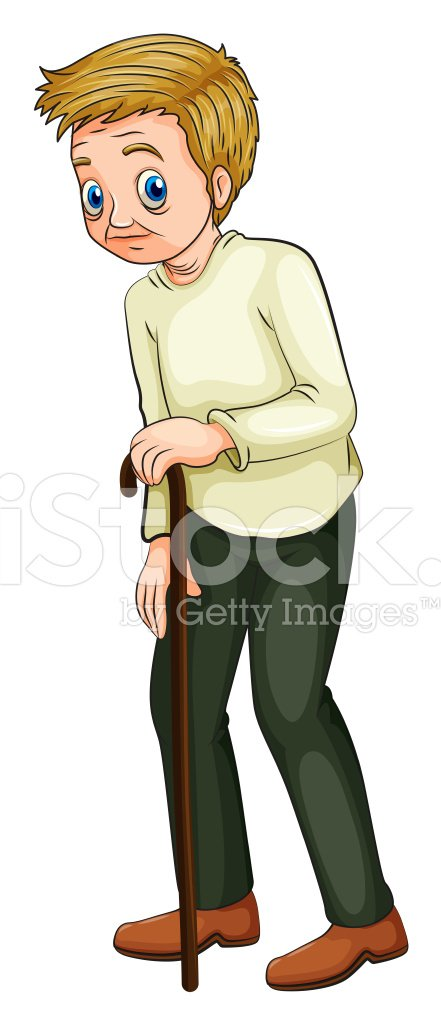 old man walking with a cane Clipart Image.