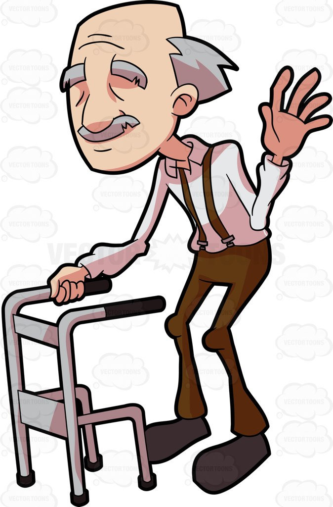 Old Man With Walker Clipart.