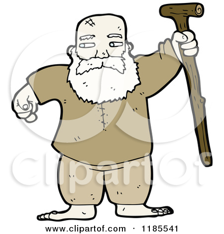 Old Man With Walking Stick Clipart.