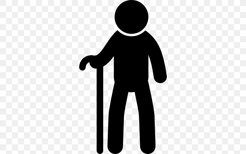 Old Age Walking Stick Silhouette Man, PNG, 512x512px, Old.
