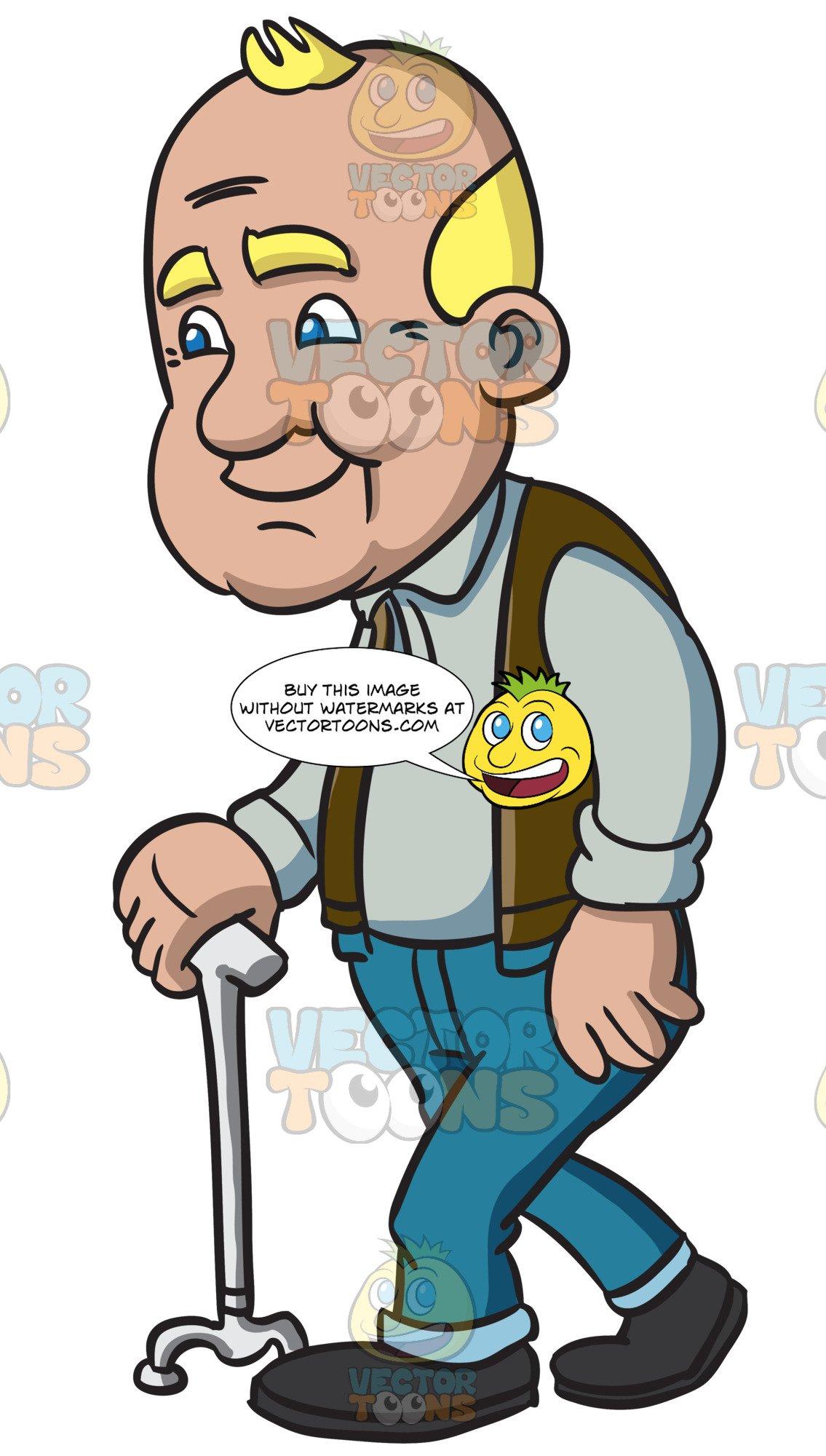 A Male Senior Citizen Using A Walking Stick.