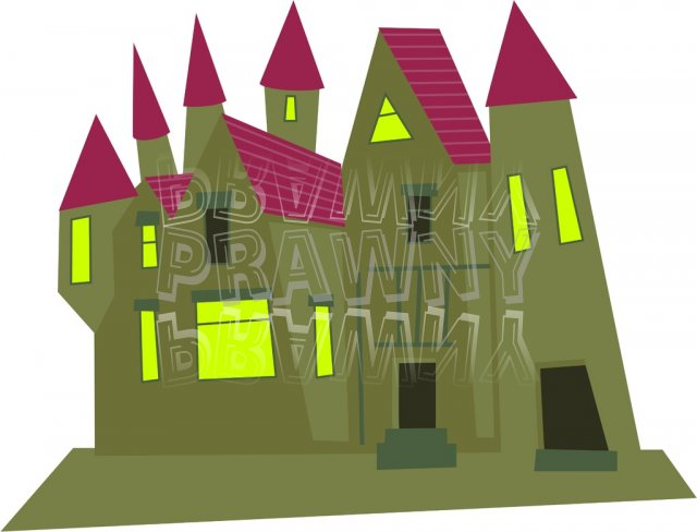 Creepy Old Mansion Building Clip Art Illustration.