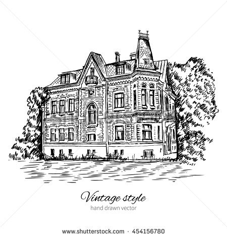 Old mansion type clipart #17