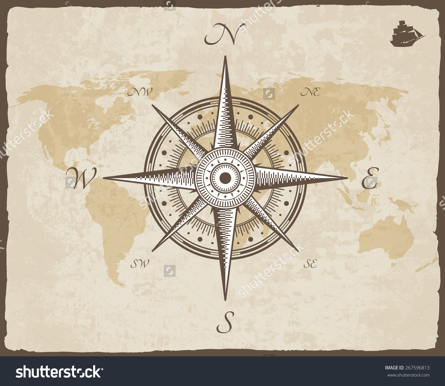 Vintage Nautical Compass Old Map Vector Stock Vector 267596813.