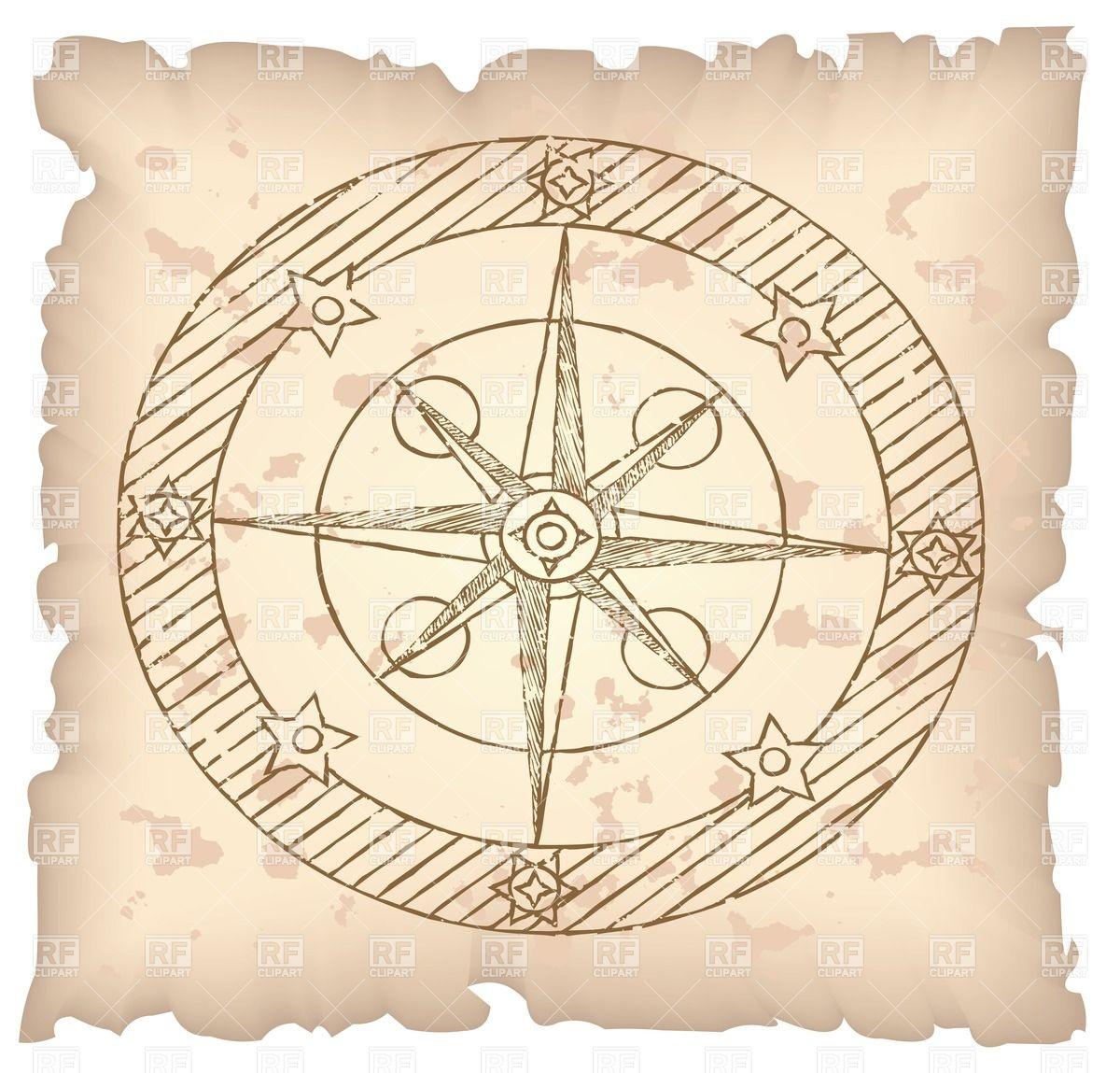 Old compass on threadbare paper.