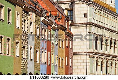 Stock Photography of Architecture of Old Market in Poznan, Poland.
