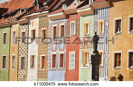Stock Image of Architecture of Old Market in Poznan, Poland.