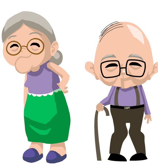 Elderly Cartoon Of Couple.
