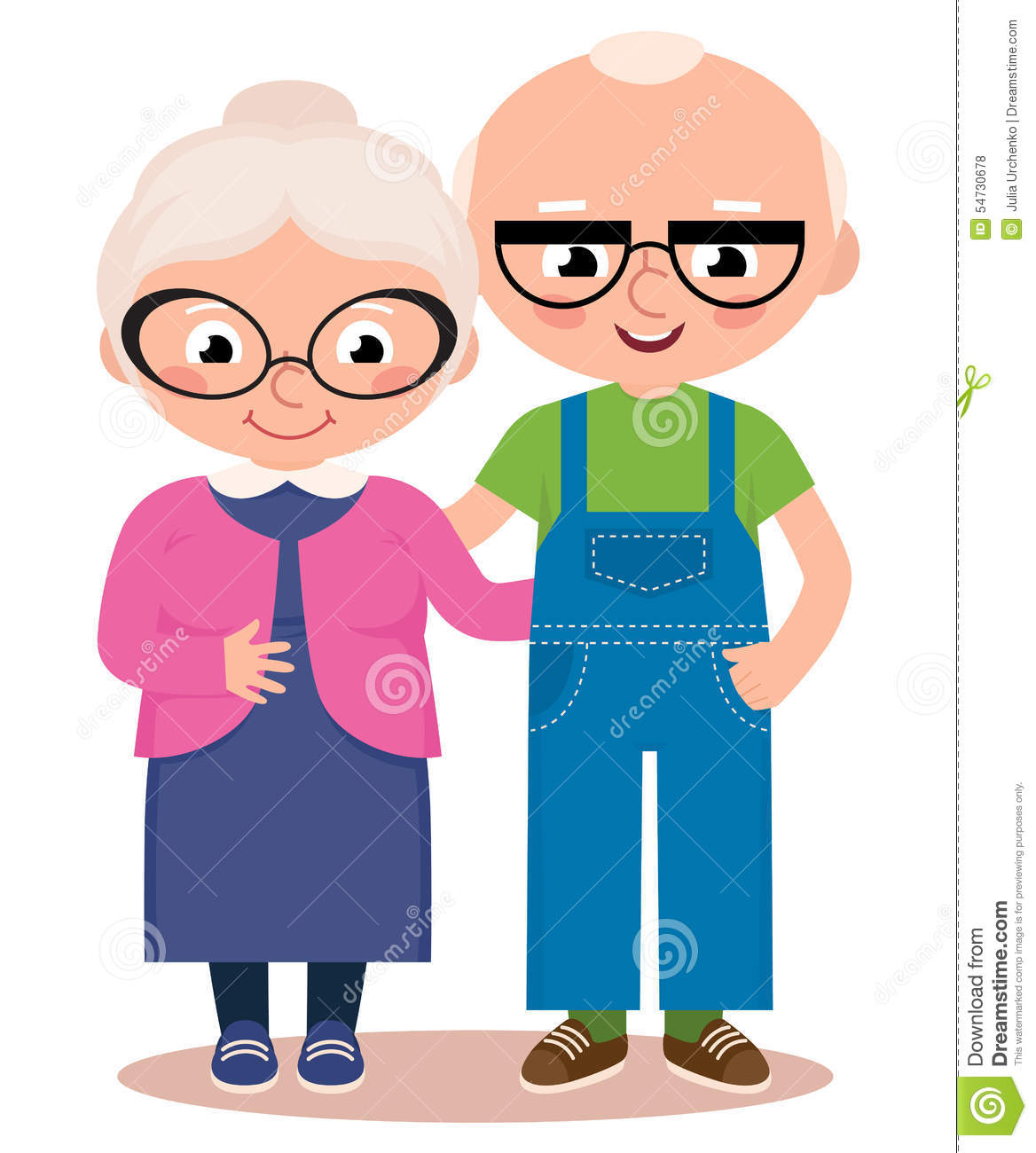 Old Married Couple Isolated On A White Background Stock Vector.