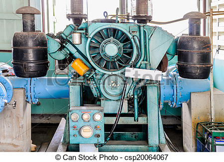 Stock Illustration of Old master pump for distribution the clean.