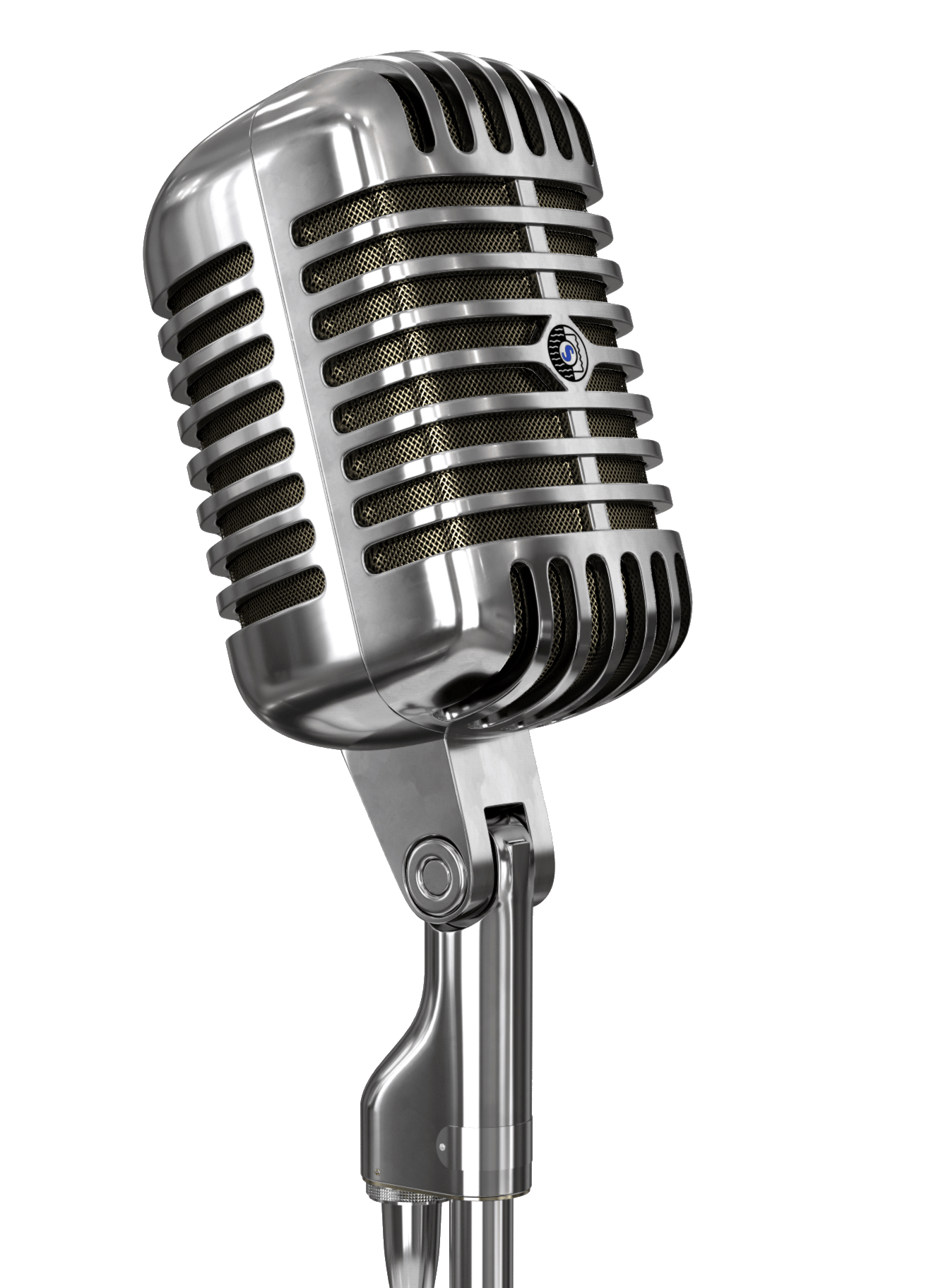 Vintage Microphone and Stand transparent PNG.