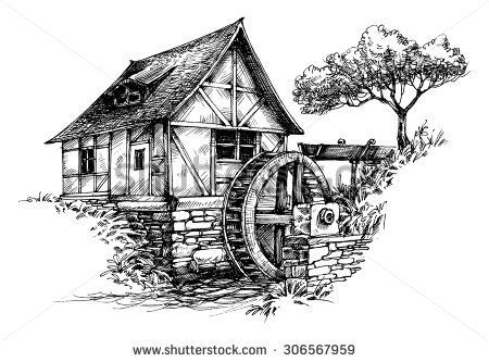 Water mill clipart.