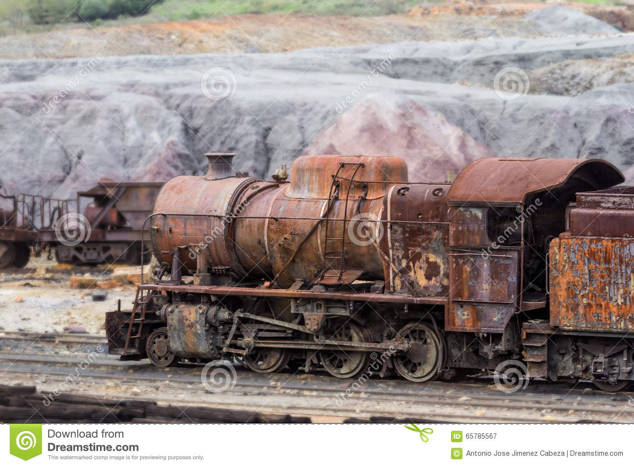 Old Steam Locomotive Abandoned In Rio Tinto Mine Stock Photo.