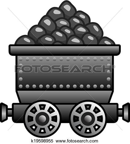 Clipart of Iron mine cart with coil k19598955.