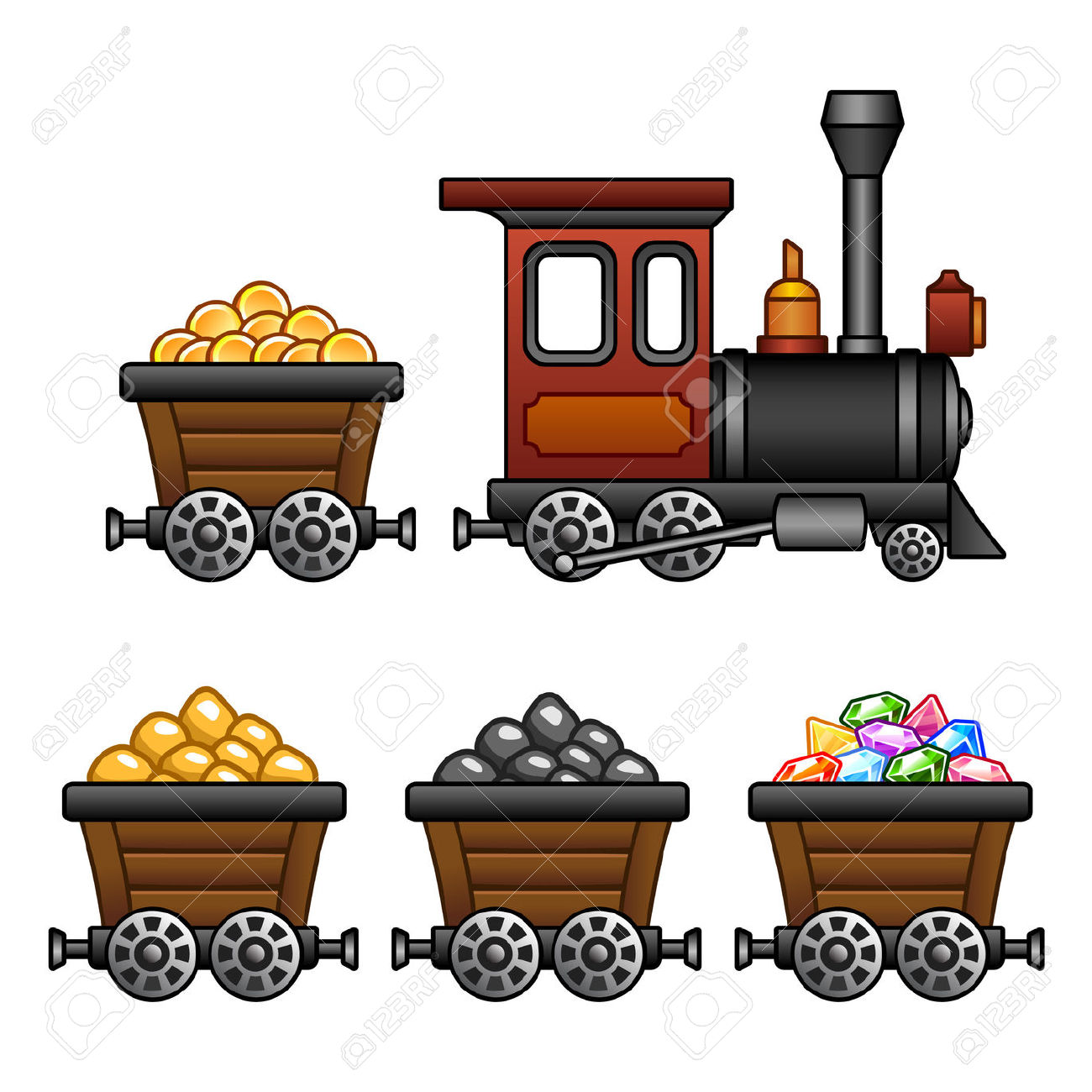 Train With Mine Tubs Royalty Free Cliparts, Vectors, And Stock.
