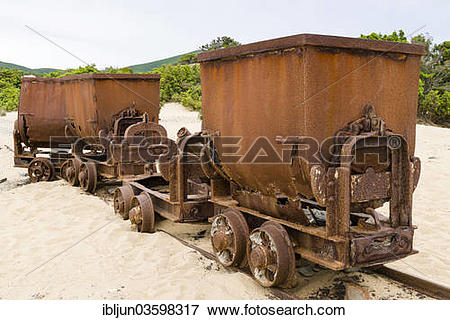 """Picture of """"Tippers or tipping wagons on old mine tracks in the."""
