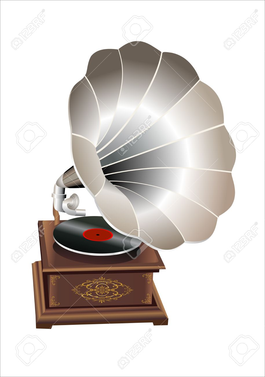 Retro Old Gramophone With Horn Speaker For Playing Music Over.