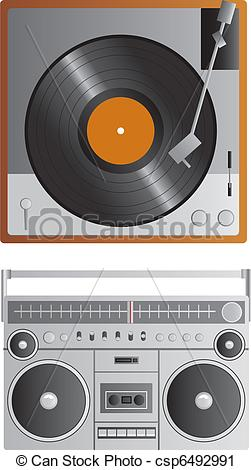 Vector Clip Art of Old School Music Players.