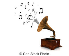 Gramophone music sound play audio old record player listen Clipart.