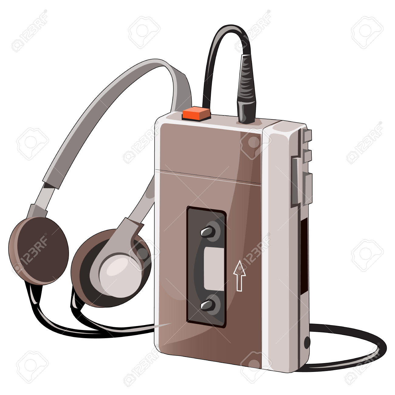 Old Cassette Music Player With Wired Headphones, Vector Isolated.