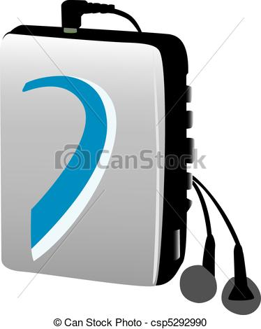 Vector Clipart of Old style electronic music player.