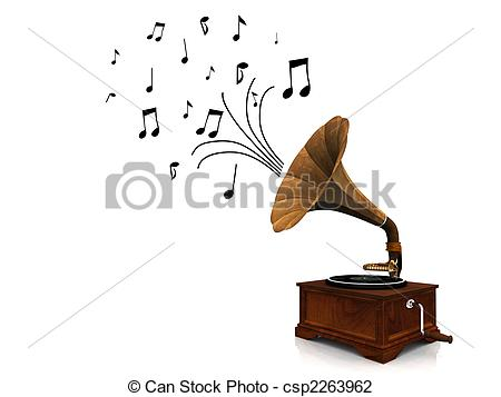 Clip Art of Gramophone playing music..