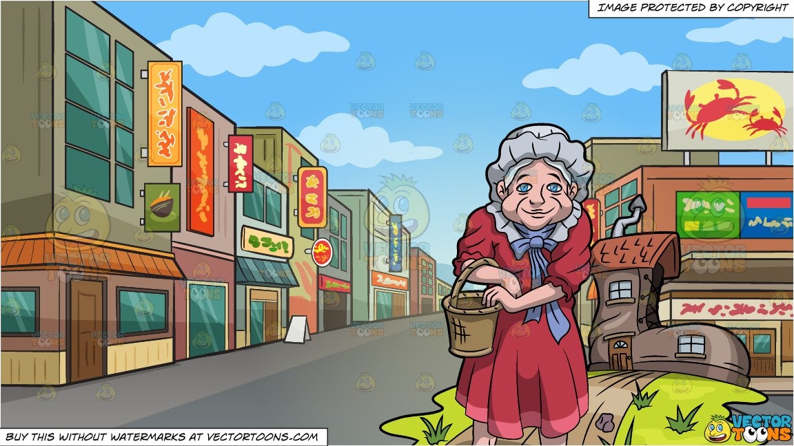 The Old Woman Who Lived In A Shoe and Downtown Street In An Asian  Neighborhood Background.