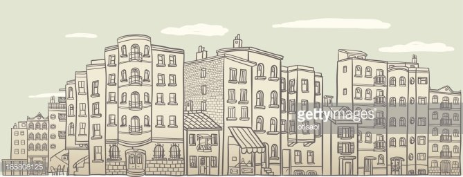 Variety of old houses in neighborhood Clipart Image.