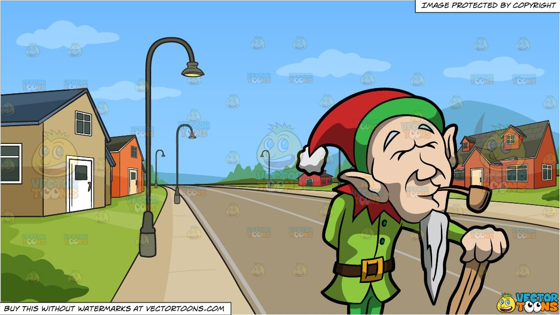 An Old Elf Enjoying A Smoke and A Neighborhood Subdivision Background.