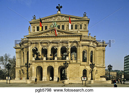 Pictures of Germany, Frankfurt. Alte Oper. Old Opera House.