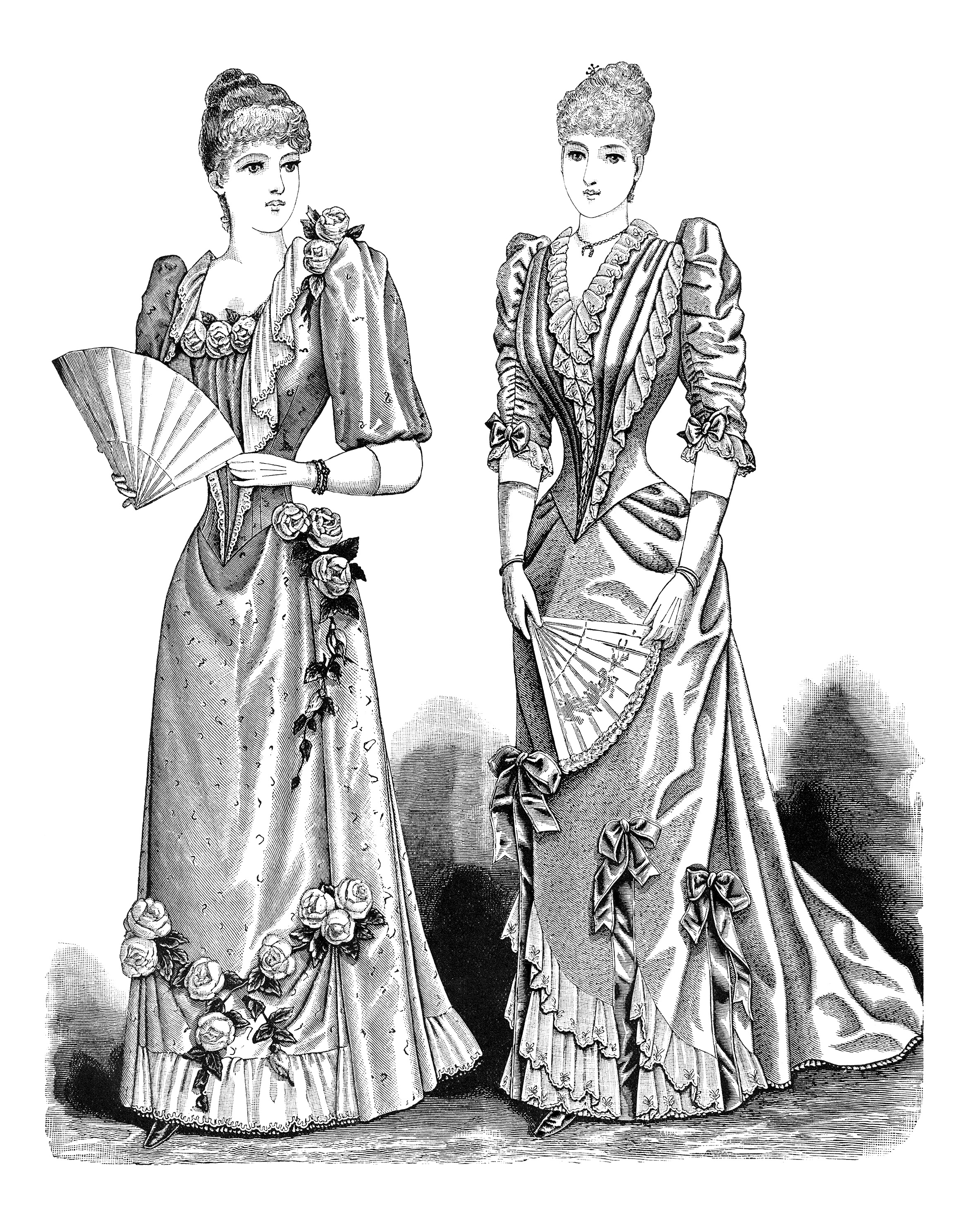 Victorian lady, black and white graphics, Edwardian ladies fashion.
