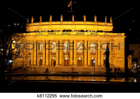 Stock Image of The old opera house in Stuttgart at night k8112295.