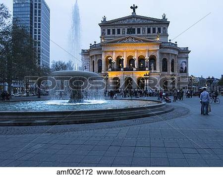 Stock Photo of Germany, Hesse, Frankfurt, Old opera house at dusk.