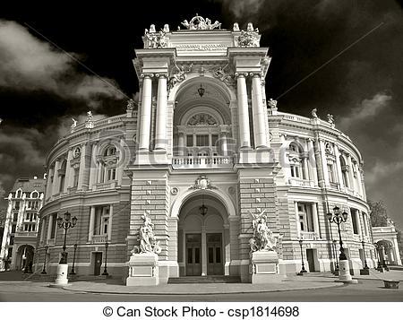 Pictures of Opera Theatre Building in Odessa Ukraine.