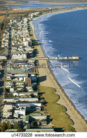 Pictures of Aerial view of Old Orchard Beach downtown, pier, new.