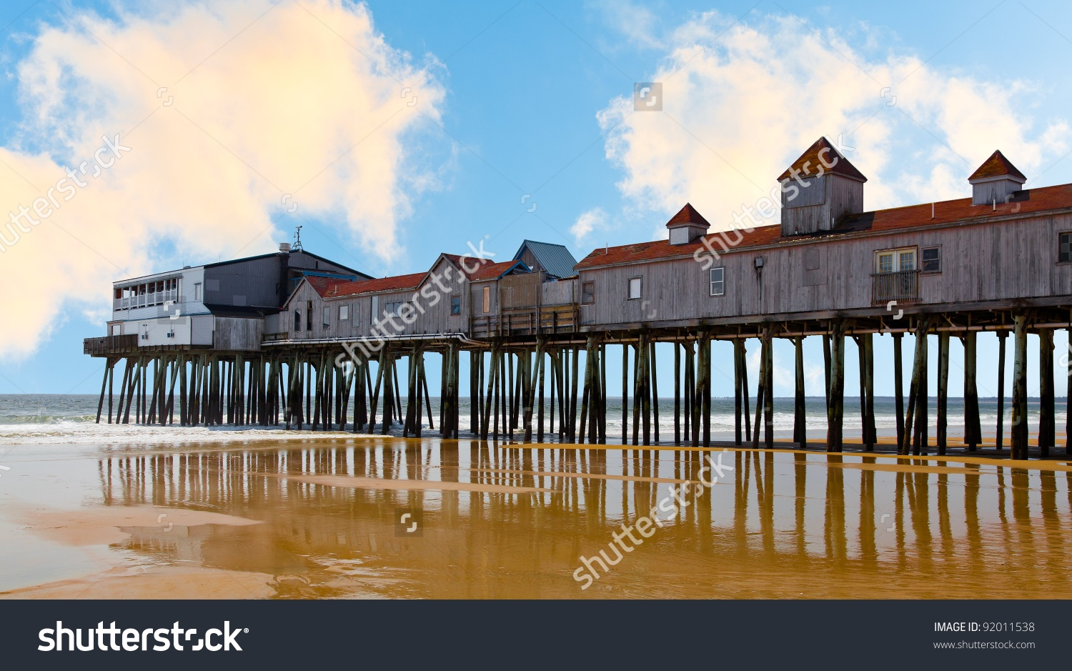 Historic Wooden Pier At Old Orchard Beach, Maine Stock Photo.