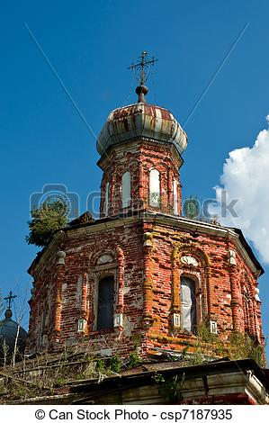 Stock Images of Old beautiful orthodox church in Russia. Ruins.