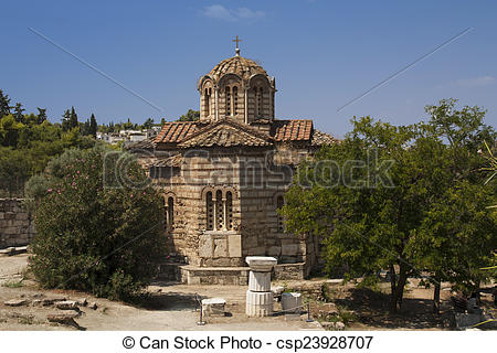 Stock Photography of Old Orthodox church at the Agora, Athens.
