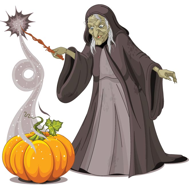 Vector old scary lady witch with Big Pumpkin doing magician.