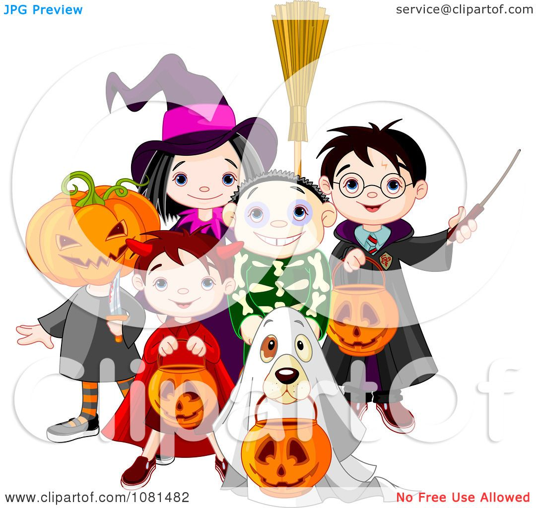 Clipart Group Of Halloween Trick Or Treating Kids And A Dog.