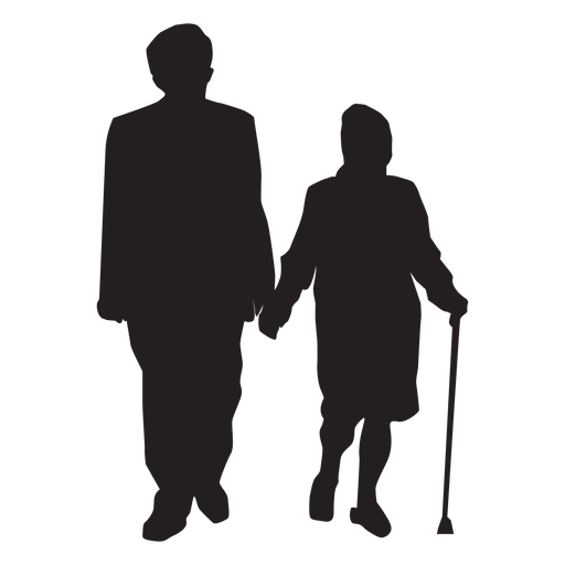 Old couple silhouette couple.