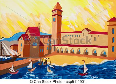 Clipart of Old port at sunset. Boats ashore. Historical gouache.