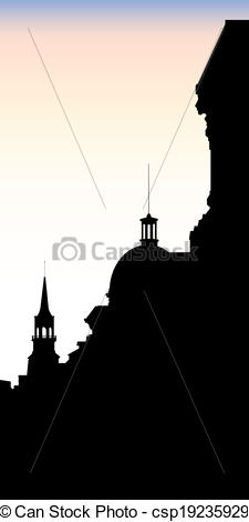 Vector Illustration of Old Port Montreal Rooftops.