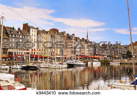 Stock Photography of The beautiful old port of Honfleur, Normandy.