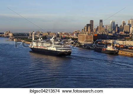 Stock Photo of MS Maasdam entering the Old Port, Montreal, Quebec.